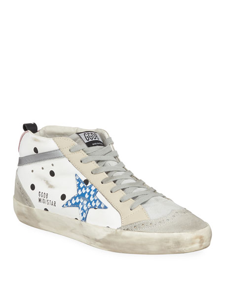 Golden Goose Mid Star Dot Leather/Suede Wing-Tip Sneakers