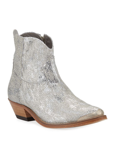Young Sparkles Sequined Western Boots