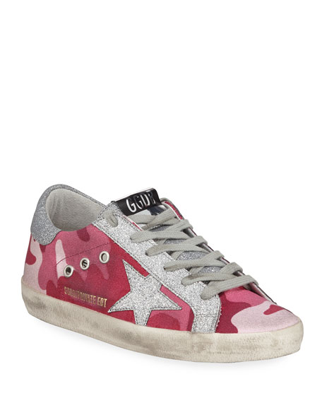 Golden Goose Superstar Glittered Camo Low-Top Sneakers