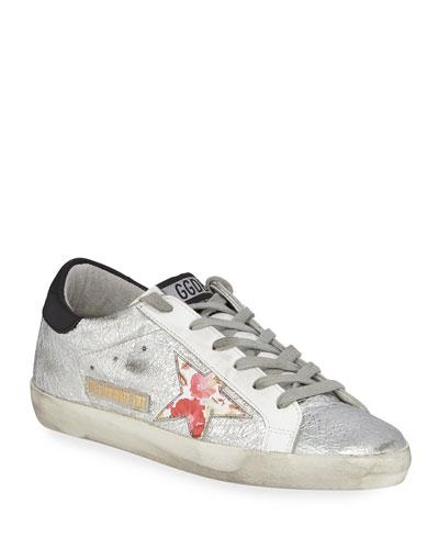 Superstar Crinkled Metallic Leather Sneakers