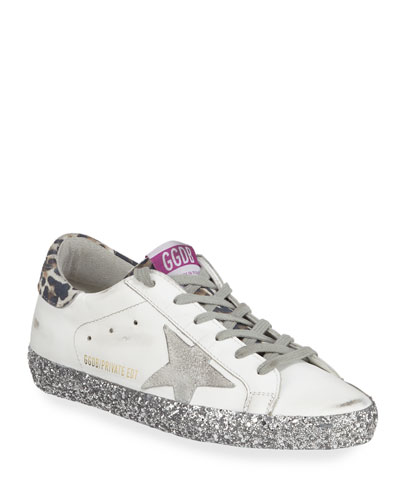Superstar Leopard-Print Glittered Leather Sneakers