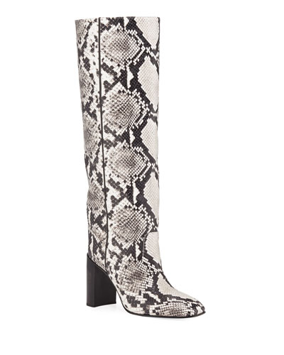Aslen Snake-Embossed Leather Tall Boots