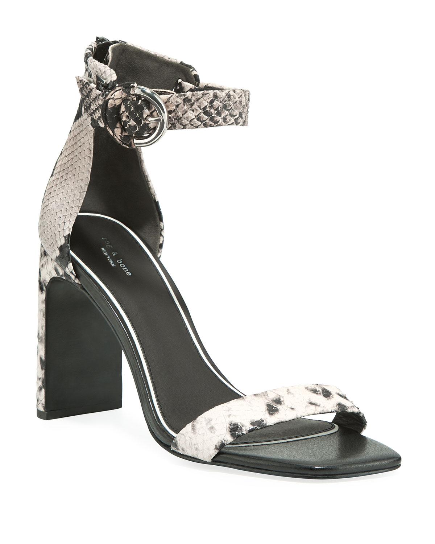 Ellis Snake-Print Leather Ankle-Strap Sandals