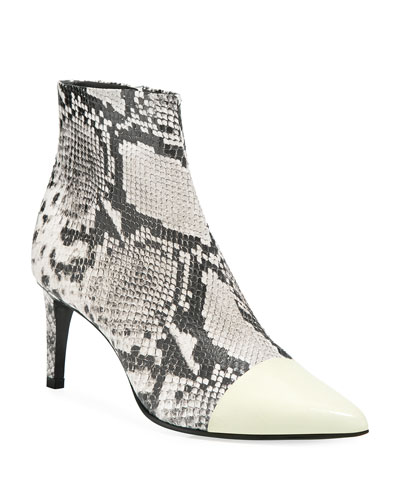 Beha Snake-Print Leather Cap-Toe Booties