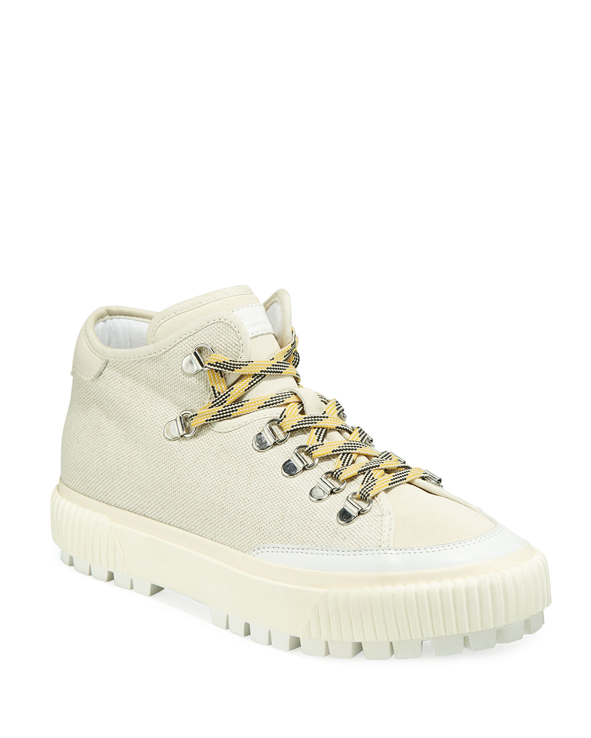 Army Hiker Canvas Mid-Top Sneakers with Leather