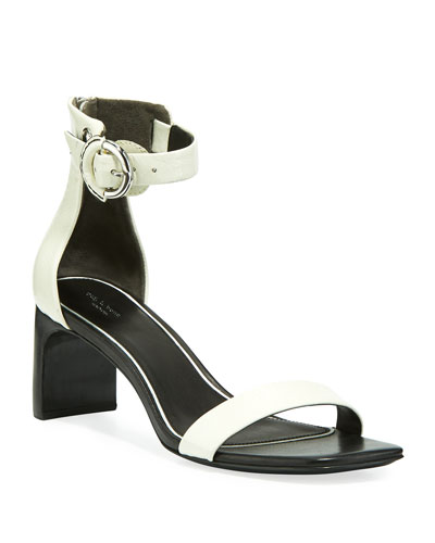 Ellis Patent Ankle-Strap Sandals