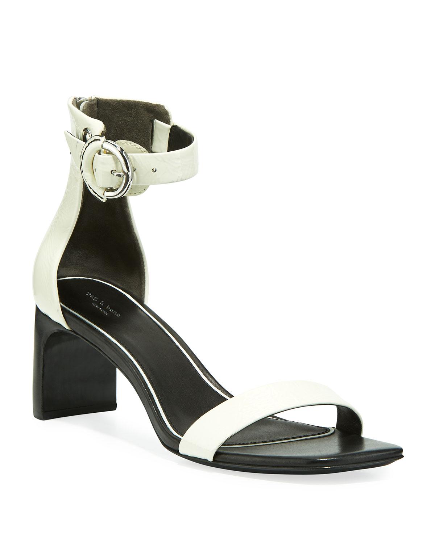 Ellis Patent Ankle-Strap Sandals