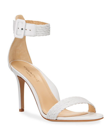 Marion Parke Florence Braided Leather Ankle-Strap Sandals