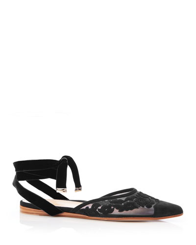 Naomi Ankle-Tie Suede Flats