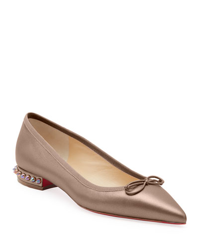 Hall Spike-Heel Leather Red Sole Flats