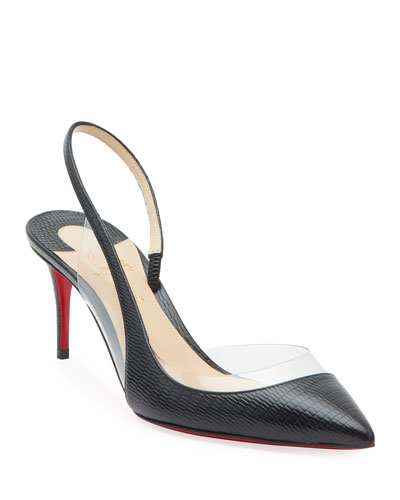 OptiSexy Asymmetric Red Sole Slingback Pumps