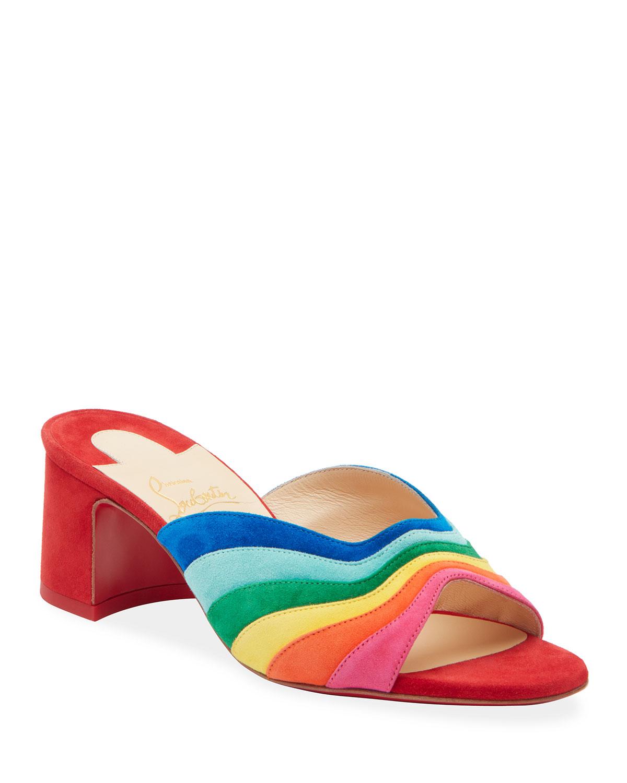 Degradouce Rainbow Red Sole Slide Sandals