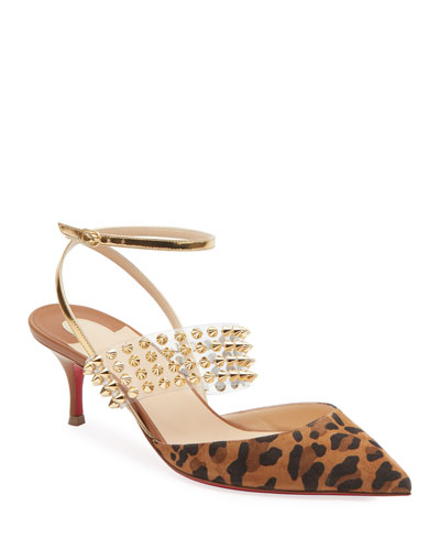 Levita Leopard Ankle-Wrap Red Sole Pumps