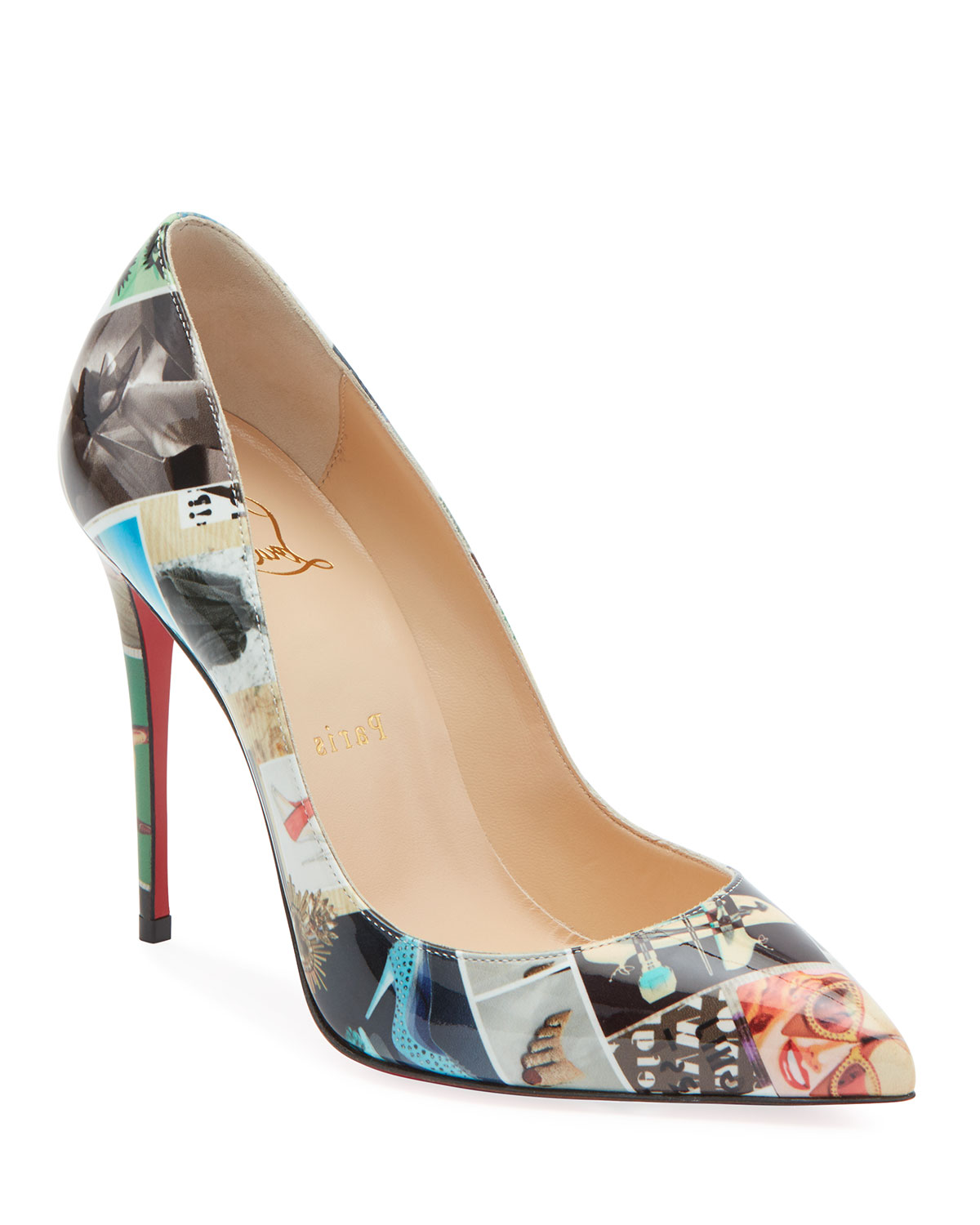 Pigalle Follies Collage Patent Red Sole Pumps