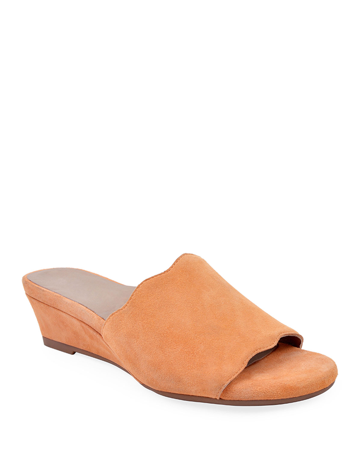 Seema Suede Demi-Wedge Slide Sandals, Chili