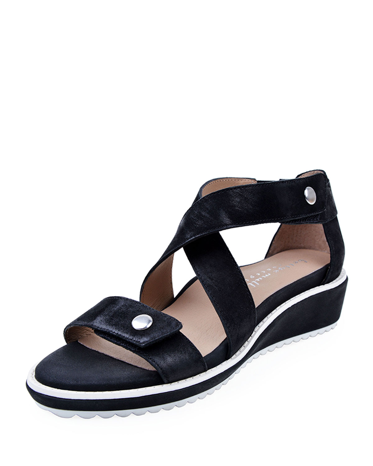 Tobi Leather Demi-Wedge Sandals, Black