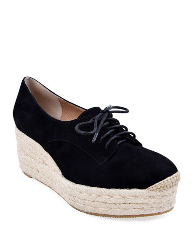 Regine Suede Lace-Up Espadrilles, Black