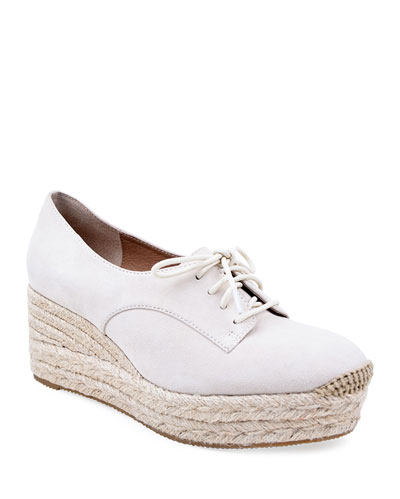 Regine Suede Lace-Up Espadrilles, Cream