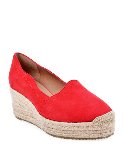 Reese Scalloped Suede Espadrilles, Red