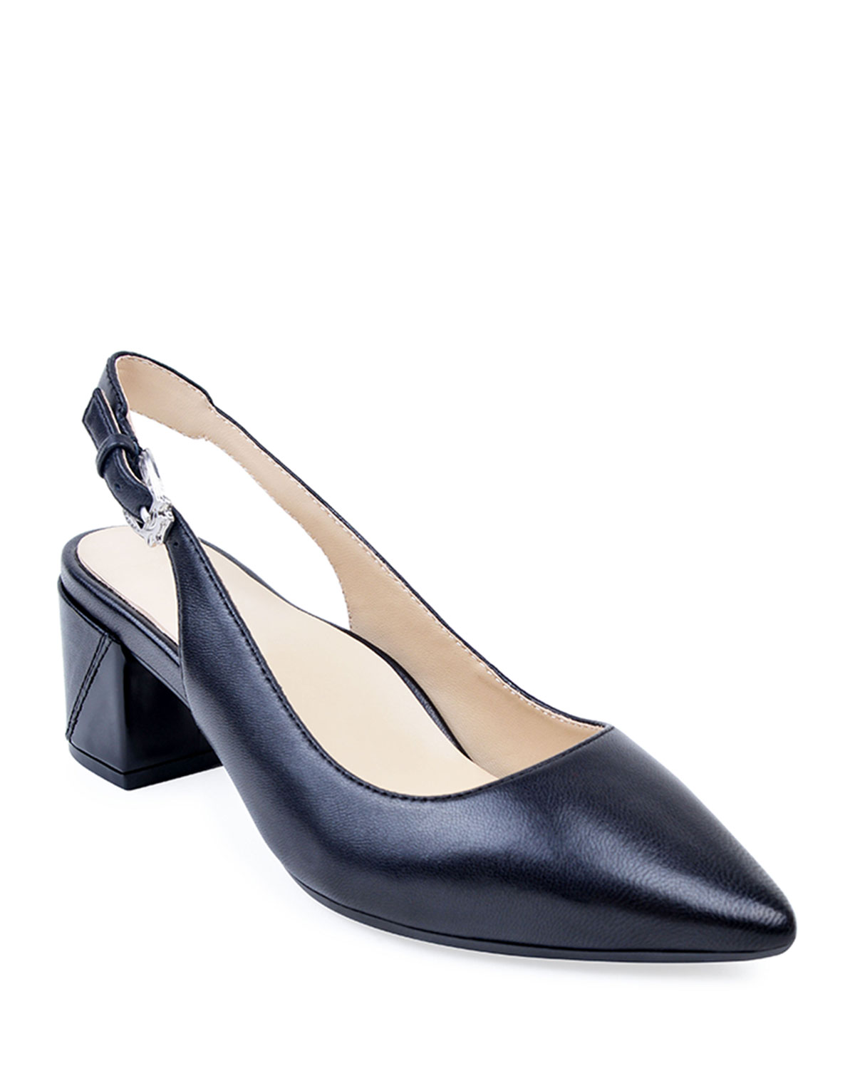 Flynn Leather Slingback Pumps, Black
