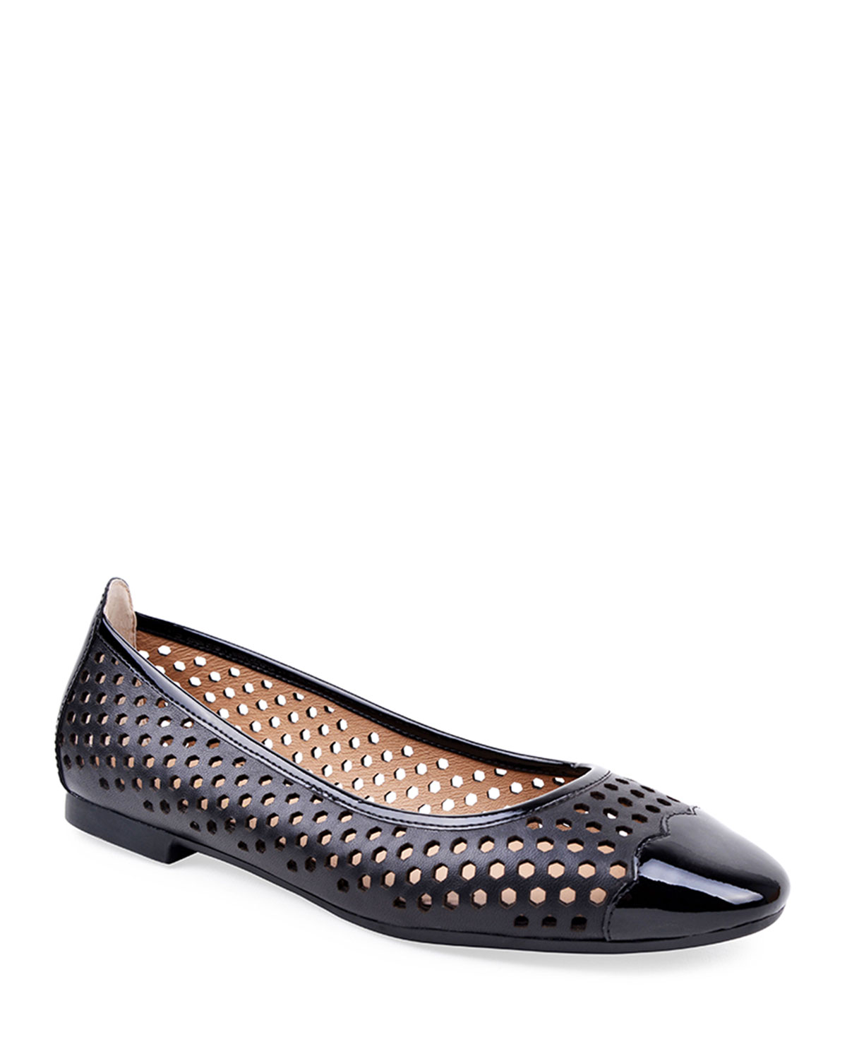 Janae Perforated Leather Flats, Black