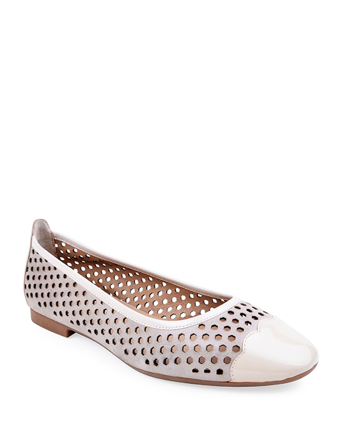 Janae Perforated Suede & Patent Leather Flats