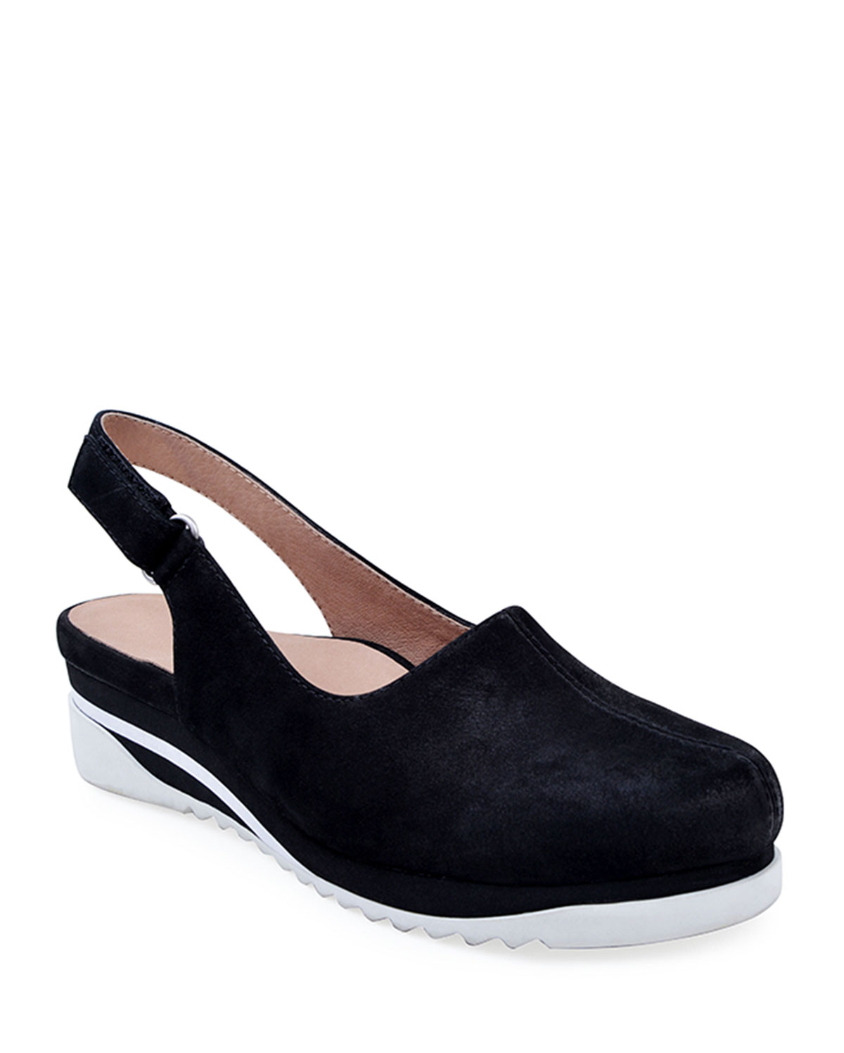 Taye Leather Slingback Clogs, Black
