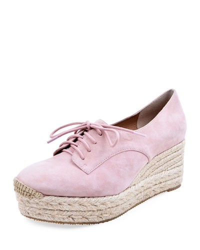 Regine Suede Lace-Up Espadrilles, Pink