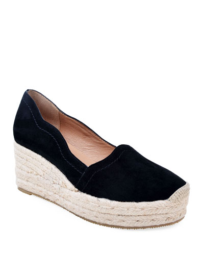Reese Scalloped Suede Espadrilles, Black
