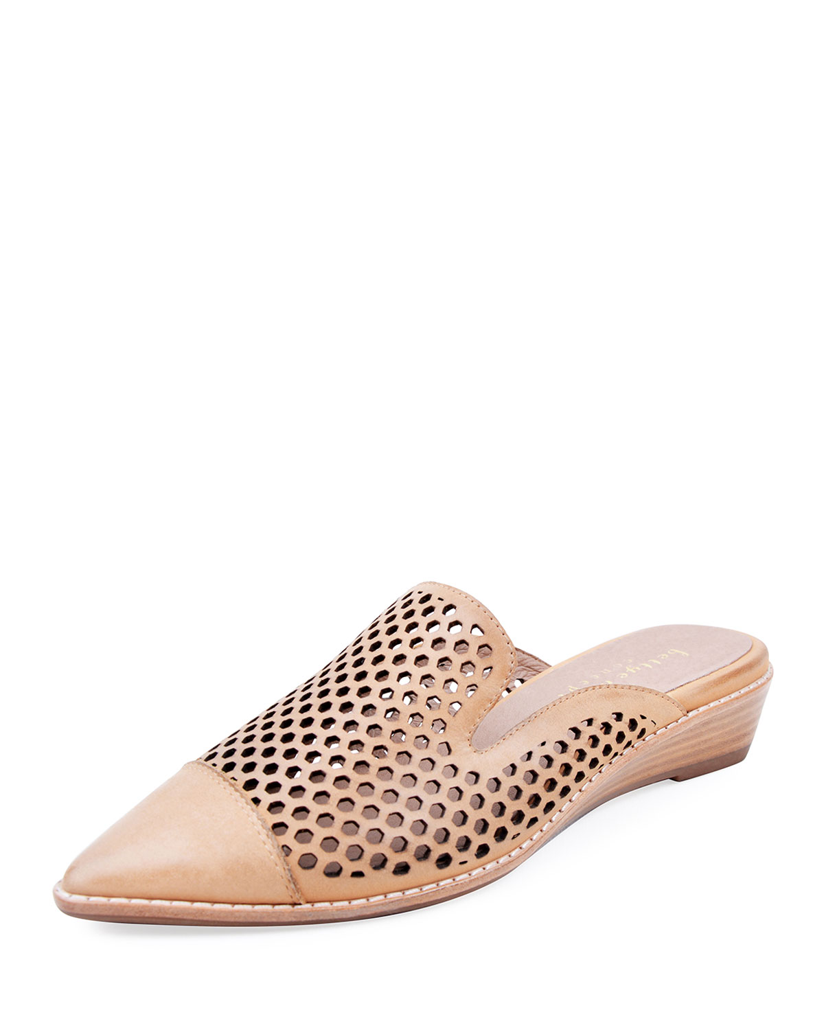 Cara Perforated Leather Mules, Beige