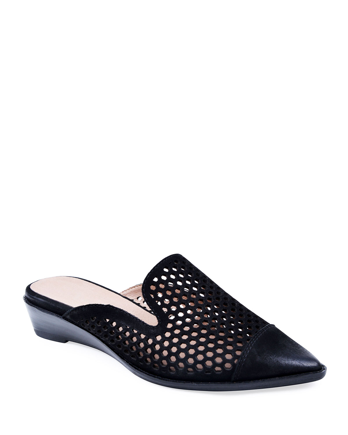 Cara Perforated Leather Mules, Black