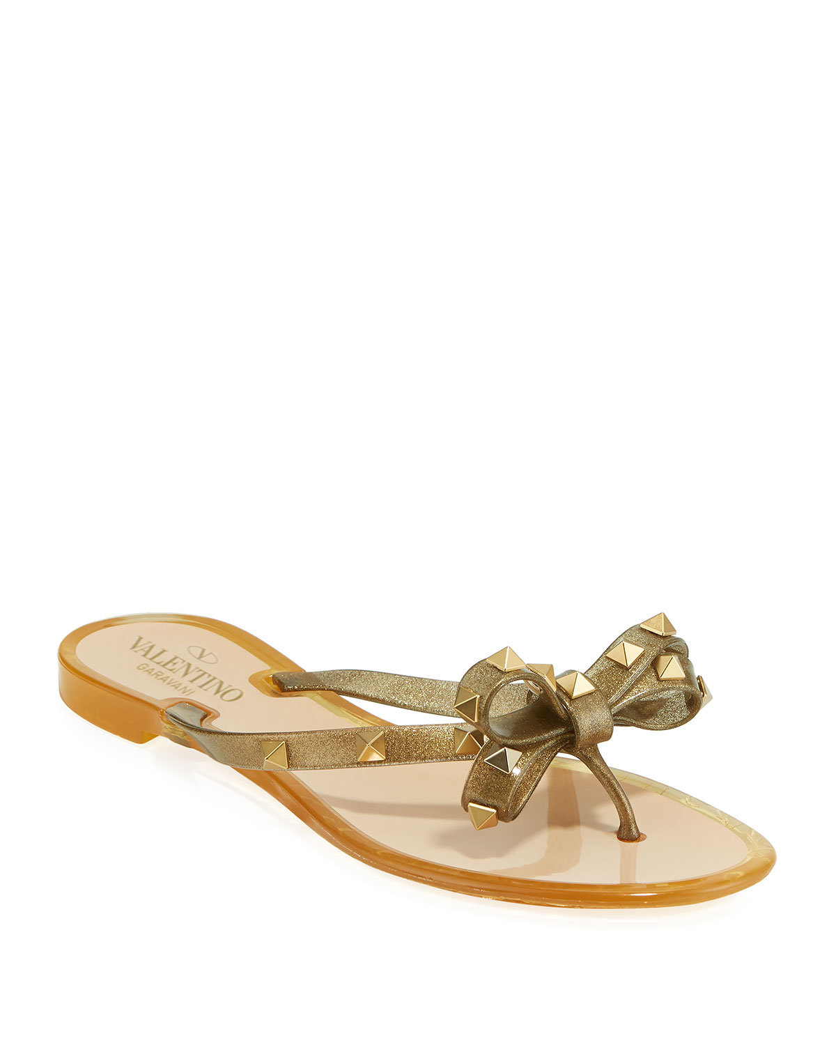 Rockstud Jelly Bow Thong Sandals