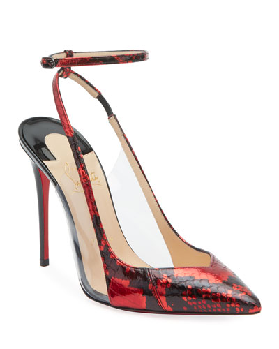 Optichoc Glossy Snakeskin Red Sole Pumps