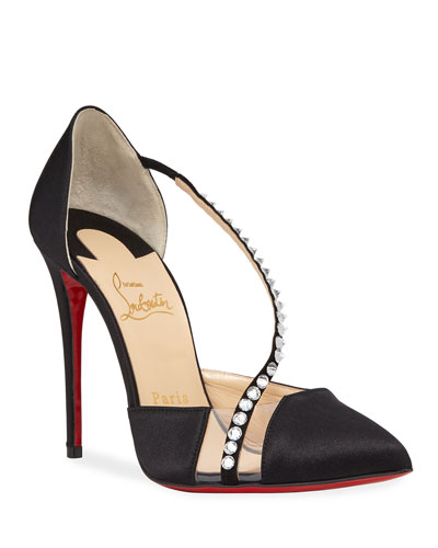 Krystal Cross Embellished Red Sole Pumps