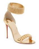 Christian Louboutin Priydora Metallic Spike Red Sole Sandals