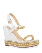Christian Louboutin Pyraclou Studded Wedge Red Sole Espadrilles