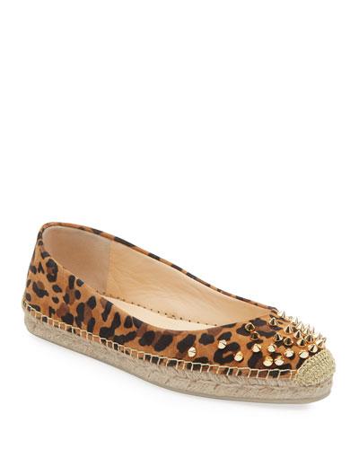 Aliochette Flat Leopard Red Sole Espadrilles