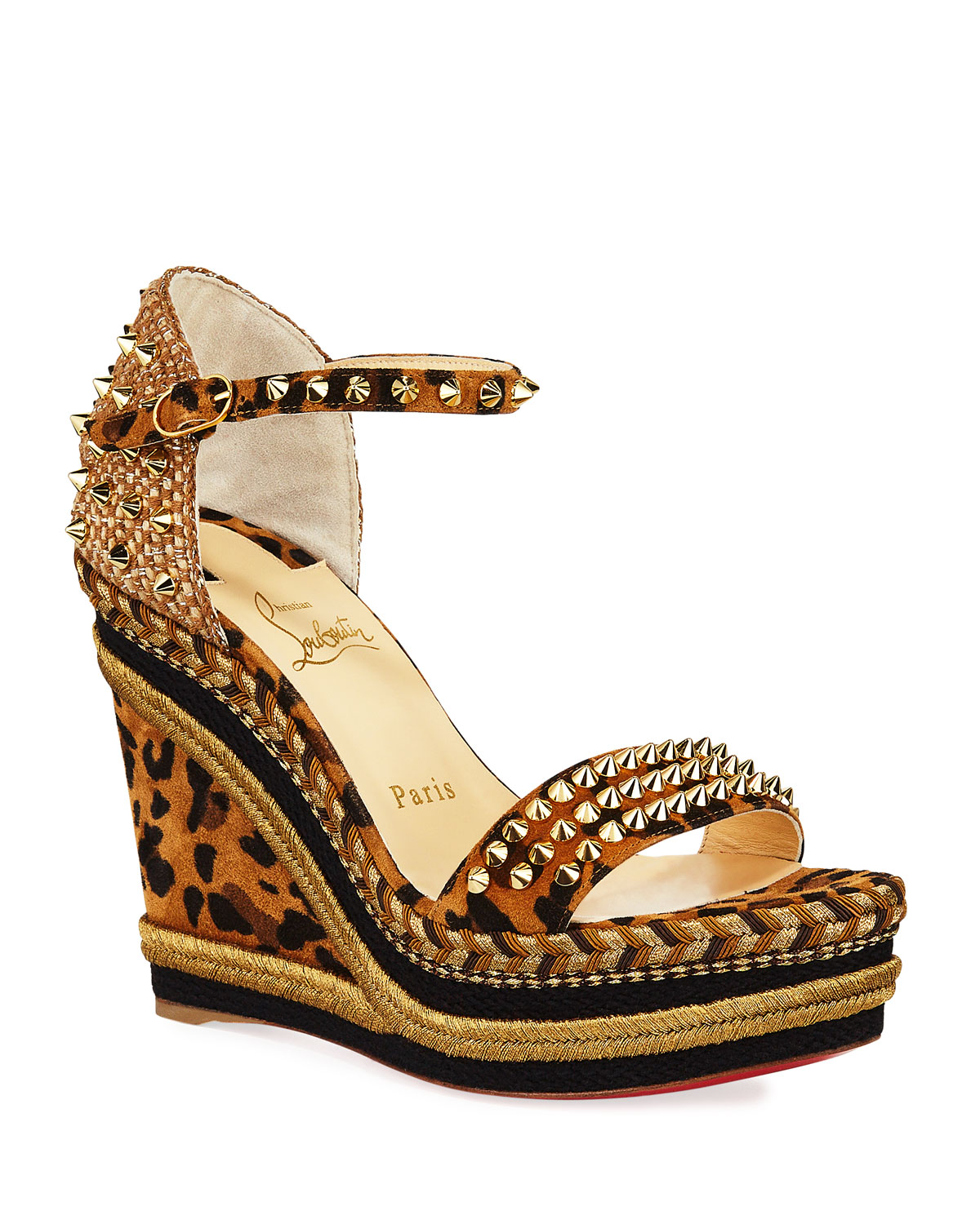 Mad Monica Leopard Red Sole Wedge Espadrilles