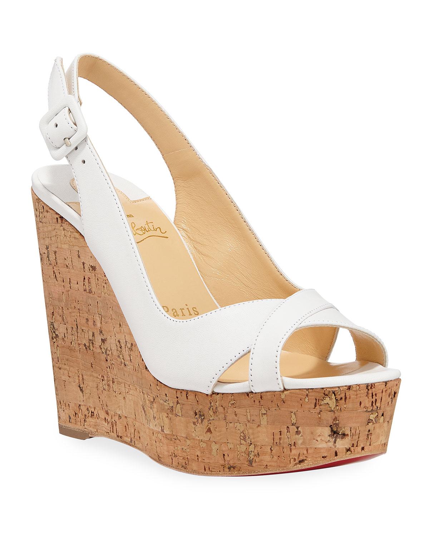 Reine de Liege Napa Red Sole Wedge Sandals