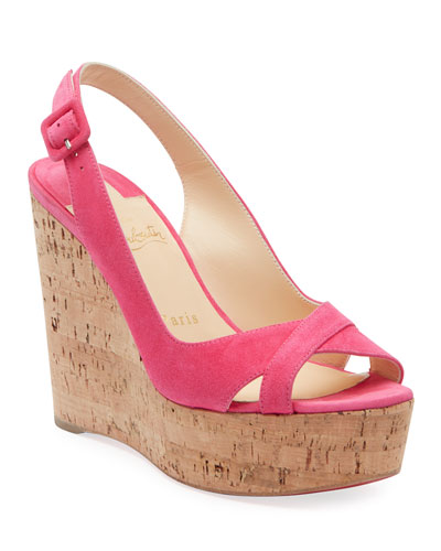 Reine de Liege Suede Red Sole Wedge Sandals
