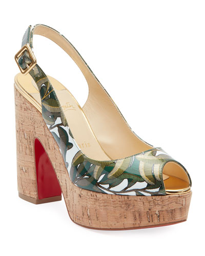 Donna Anna 120 Leaf-Print Red Sole Sandals