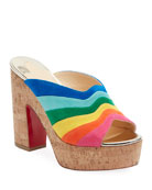 Christian Louboutin Sister Rainbow Suede Red Sole Slide
