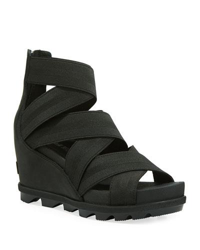 Joanie II Stretch-Strap Leather Wedge Sandals