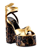 Saint Laurent Paige Knotted Leopard Platform Sandals