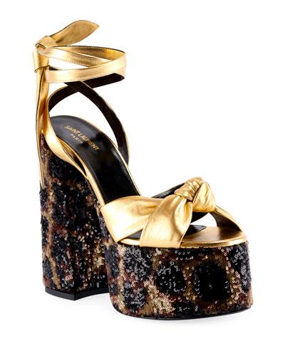 Paige Knotted Leopard Platform Sandals