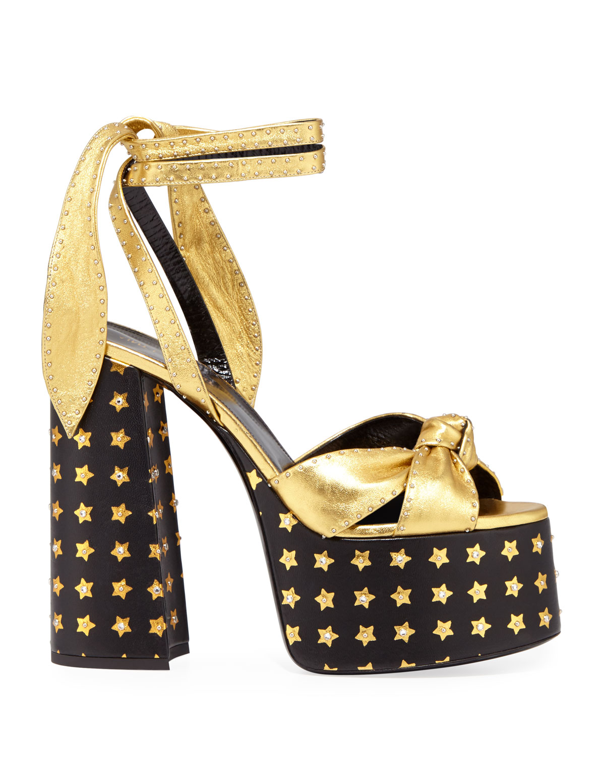 34231db5cae Saint Laurent Paige Star Platform Sandals In Gold