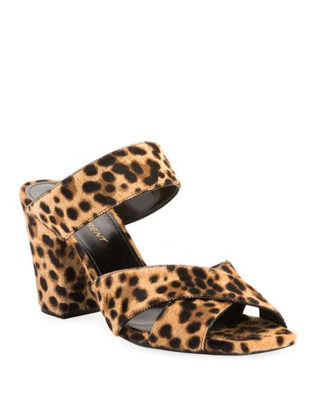 Saint Laurent Oak Printed Calf Hair Slide Sandals