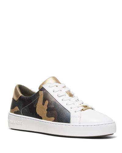 Irving Metallic Camo Leather Low-Top Sneakers
