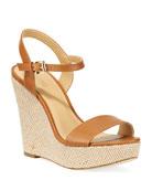 MICHAEL Michael Kors Jill Leather Woven Wedge Sandals