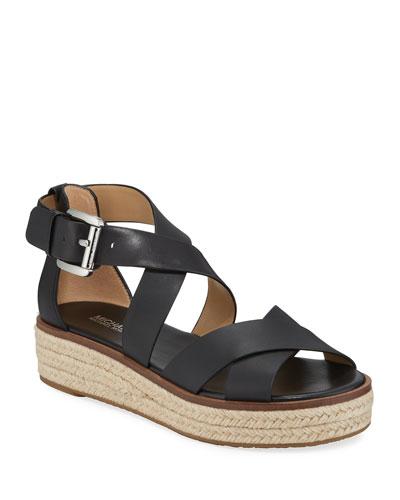 Darby Leather Flatform Espadrille Sandals